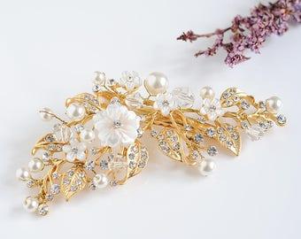 Gold Bridal Hair Accessories, Rose Gold Hair Clip, Crystal Flower Hair Pin, Vintage Style Wedding Headpiece, Bridal Leaf Hair Vine, ANGELA