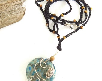 Wire Wrapped Owl Pendant / Owl and Moon Totem Necklace, Gemstone Focal Jewelry, Owl Lover Gift USA Handmade Bird Jewelry, Organic Minimalist
