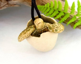 Pottery Hatching Egg Sea Turtle Pendant, 1 Handmade Ceramic Turtle Lover Gift, Totem Fetish Jewelry, USA Artisan Made Necklace, Craft Supply