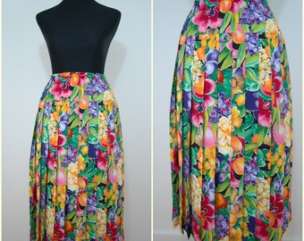 Paris FRENCH VINTAGE 1980s Novelty Flowers Fruit Print Pleated Secretary Skirt UK 12 F 40 / Fun Spring Pleat / Make You Smile Print