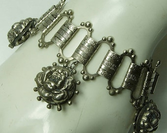 1940s Victorian Revival Charm Bracelet Bookchain Rose Form Puffy Charms