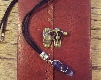 Leather Spell Book, Wire-Wrapped Amethyst Necklace & Silver Pentacle Necklace