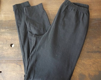 Vintage 80's Black Leggings / Black Spandex Leggings - Size Medium / Black Normcore pants / Black vintage joggers / Vintage spandex pants /