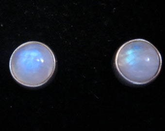 Vintage 80's sterling silver moonstone cabochon stud earrings 925 gemstone (8987)