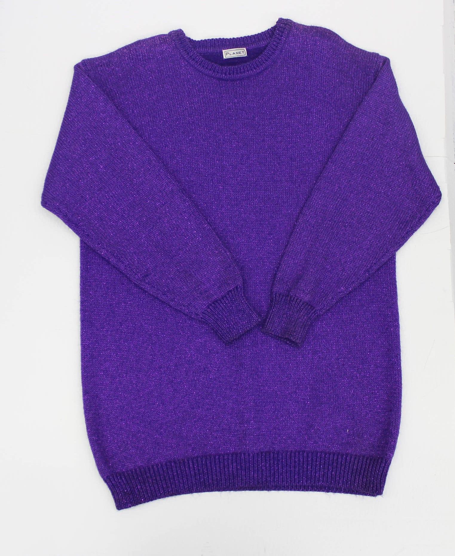 Vintage Purple Metallic Sweater Oversized Slouchy Jumper