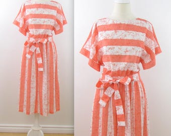 Mary Martin Striped Summer Dress - Vintage 1980s Orange + White Butterfly Day Dress in Large xLarge