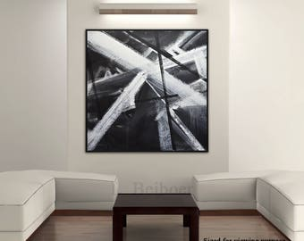 Original abstract painting large minimal art black and white minimalist oil painting 36 x 36 textured wall art modern design by L.Beiboer