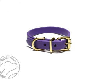 "Royal Purple Beta Biothane Dog Collar - 5/8"" (16mm) Wide - Leather Look and Feel - Small Dog Collar - Stainless Steel or Brass Hardware"