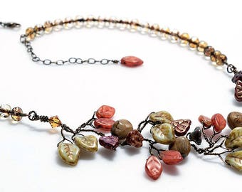 Autumn Vine Necklace,  Rust Orange Green Brown Leaf Necklace,  Autumn Wedding Jewelry, Rustic Beaded Necklace, Nature Jewelry