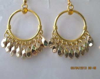 Gold Tone Hoop Earrings with Gold Tone Teardrop Dangle