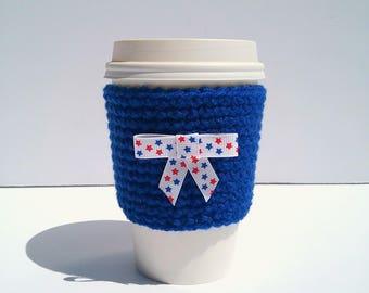 Blue Coffee Sleeve, Crochet Coffee Cozy, Star Spangled Bow