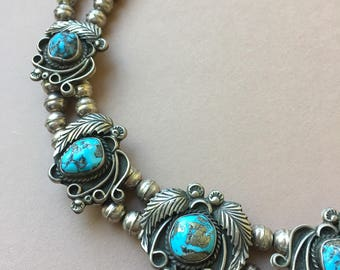 Pyrite Included Turquoise and Feather Necklace