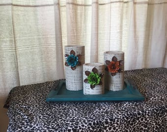 Wooden Candleholders (set of 3)  Khaki with Turquoise, Orange and Green Flowers