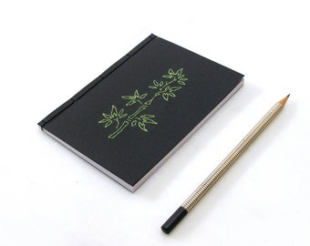 Bamboo Notebook. Embroidered A6 Notebook . Black Notepad. Japanese Stab Bound. Mini Journal. Pocket Journal. Zen Notebook. Men's Notebook.