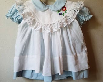 Vintage Girls Blue Dress with Peter Pan Collar and White Pinafore by Jayne Copeland- Size 18 Months-  New, never worn