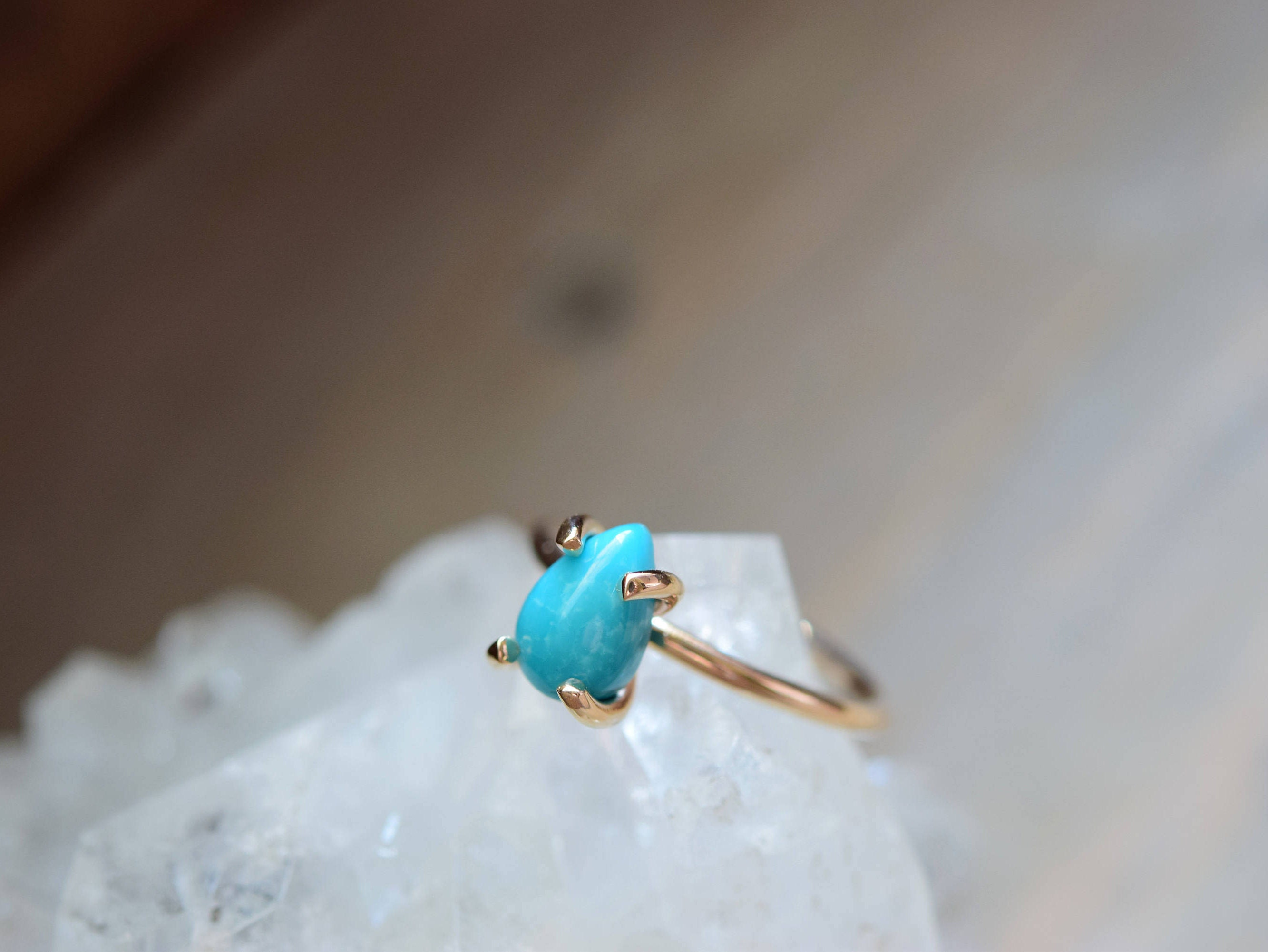 small turquoise stone ring gold fill prong ring december. Black Bedroom Furniture Sets. Home Design Ideas