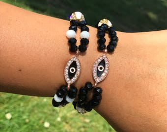 Third Eye Spirit Bracelet, meditation jewelry, black, white & rose gold, stretchy