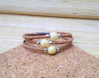 Portuguese Cork Bracelet, Portuguese jewelry, Ceramic Beads, Portuguese Bracelet, Portuguese cork, Ecofriendly, Cork