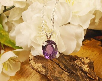 Alexandrite Necklace, June Birthstone, Solid Sterling Silver, 5.40 Cts Facet 11.30 x 9 mm Natural Clear Alexandrite Color Changing