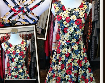 Vintage Red Blue Gold White Floral Print Cotton Dress Strappy Back FREE SHIPPING