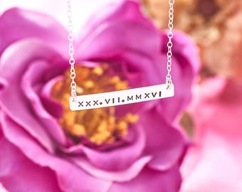 Roman Numerals Bar Necklace - Sterling Silver - Personalised Bar Necklace - Roman Numerals Necklace - Hand Stamped Bar Necklace