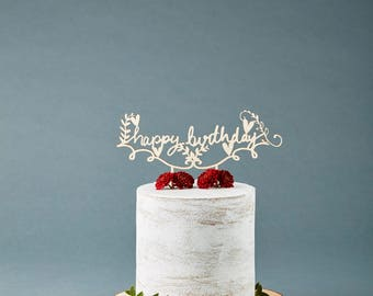 Birthday Cake Topper - Customize Cake Topper Flowers - Wooden Rustic Cake Topper
