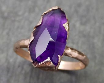 Partially Faceted Amethyst Solitaire Ring Statement ring Custom One Of a Kind Gemstone Ring Bespoke byAngeline 0604