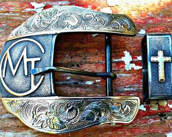 Custom Belt Buckle, Mens Ranger Buckle, Western Belt Buckle, 2 Piece Ranger Set, Personalized, Engraved Mens Accessories, Rodeo, Cowboy