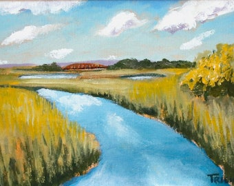 Framed Original Art, Marsh with Bridge