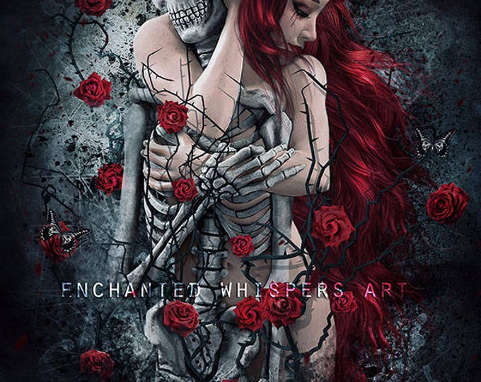 Gothic red head woman with skeleton art print