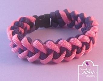 Pink Purple Paracord Bracelet, Shark Jaw Bone Paracord Bracelet, Pink Bracelet, UK