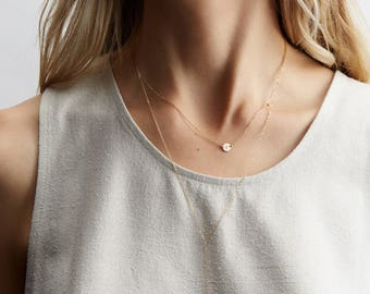 Super Dainty Initial Necklace • Custom Personalized Tiny Disk Necklace (or Blank Delicate Disc) 14k Gold Fill, Sterling, Rose Gold: LN206_L