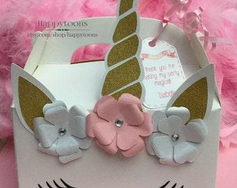 Unicorn favor box, unicorn treat box, unicorn gable box, with tag, including thank you tag.