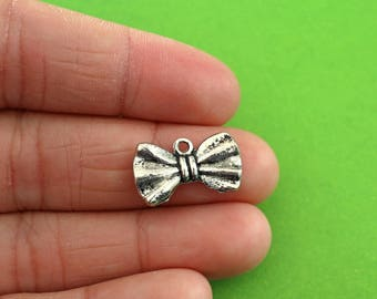 6 Silver Bow Tie Charms (CH016-6)
