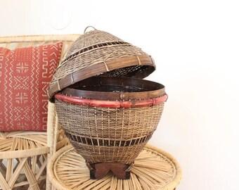 Vintage Basket w/ Lid Brown Beige and Red Basket Hanging Lantern Storage Boho Home Decor
