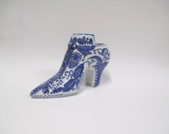 Vintage Baum Bros Styles Eyes Ceramic Shoe,  Cobalt Blue & White Painted China Figural Flower Planter Vase
