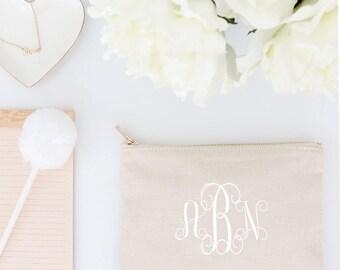 Cosmetic Bag Personalized, Makeup Bag, Monogram Make up Bag, Bridesmaid Wedding Bag, Gift for Her, Best Friends Gift, Toiletry Bag