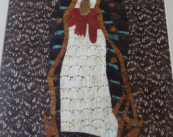 framed Butterfly wing art Our Lady of Guadalupe painting religious hand made