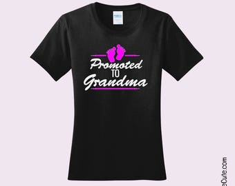 "Girl or Boy Baby Announcement Gift Bundle - ""Promoted to Grandma"" + Onesie says ""I Love  My Grandma"" - Various Ladies and Baby Onesie Sizes"