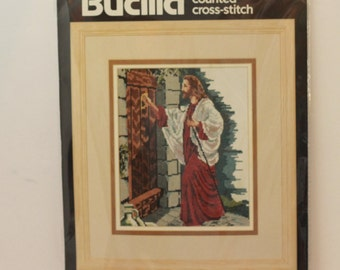 "Bucilla counted cross stitch kit 40303 Jesus At The Door kit 9"" x 12""repackaged"