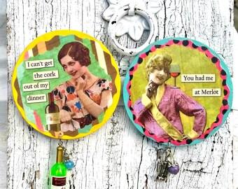 Funny Art Wine MagNet, Refrigerator Magnet, Fridge MagNet, Wine Gift, Humorous MAgneT, Wine Lover