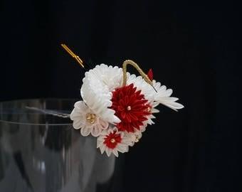 Crane (Tsuru) and Chrysanthemum Tsumami Kanzashi 353