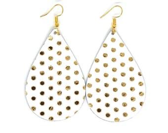 Leather Earrings / Teardrop Earrings / Polkadot Earrings / Genuine Leather