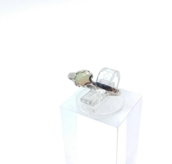 Tiny Opal Ring | Sterling Silver Ring Sz 4.5 | Solid Opal Ring | Opal Jewelry | Fire Opal Ring | Welo Opal Ring | Precious Opal Ring