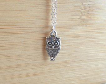 Silver Owl Necklace, Tiny Owl Charm Necklace, Owl Jewelry, Personalized Necklace, Owl Charm, Good Luck Charm,Wedding, Bridesmaid,Birthday