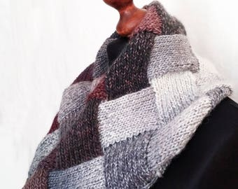 Wool cowl knit, grey infinity scarf, circle scarf, hand knitted neck warmer, entrelac knitted scarf, winter cowl, fall scarf, hipster gift