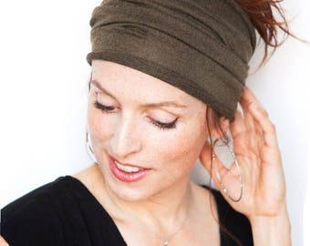 Dark Olive Headband - Kakhi Headband Wide Headband Tube Headband Workout Headband Fitness Headband Running Headband Army Green Headband Etsy
