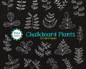 Chalkboard Plants Clipart - Chalk Plants / Chalkboard Botanical / Chalkboard Leaves / Hand Drawn Plants / Chalk Doodles / Hand Drawn