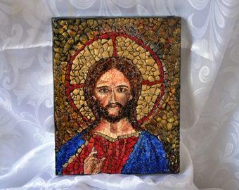 "Jesus, OOAK, Mosaic on canvas, 8""x10"" (20cmx25cm)"