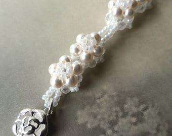 Beaded white pearl bridal bracelet, Wedding jewellery, Swarovski pearls, Beadwork bracelet, Flower bracelet, Sterling rose clasp bracelet